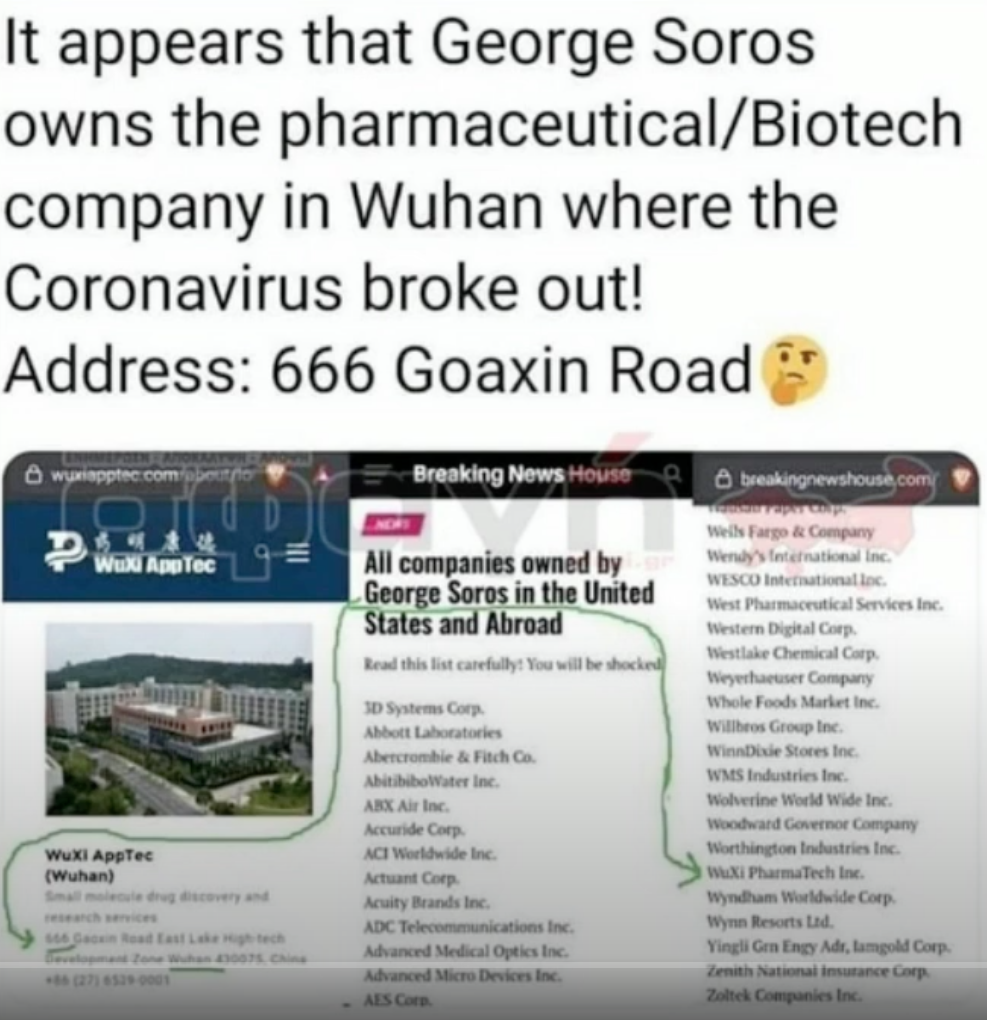 George Soros - Owns Biotech Co in Wuhan: Address is 666 Goaxin Rd.???  YIKES! A75c46f8ab9f5145